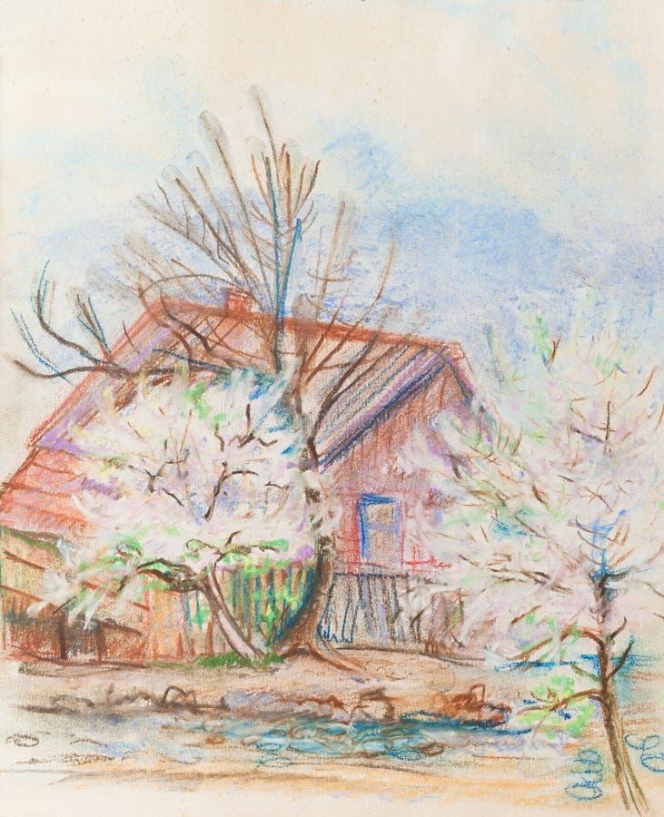 Цвести деревьев plam иллюстрация штока
