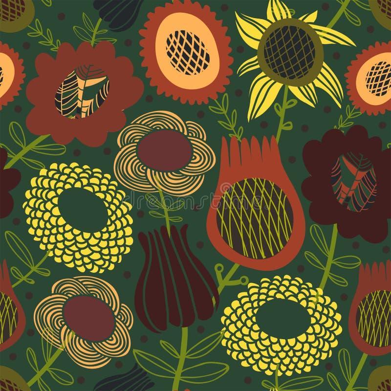 Цветастая безшовная флористическая картина бесплатная иллюстрация