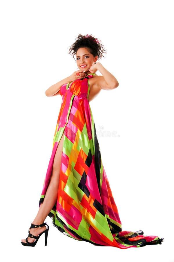 цветастая женщина способа платья стоковая фотография rf