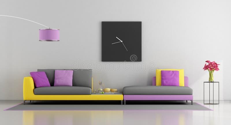 цветастая живущая комната бесплатная иллюстрация