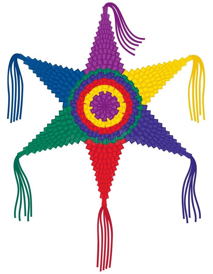 цветастая звезда pinata иллюстрация вектора