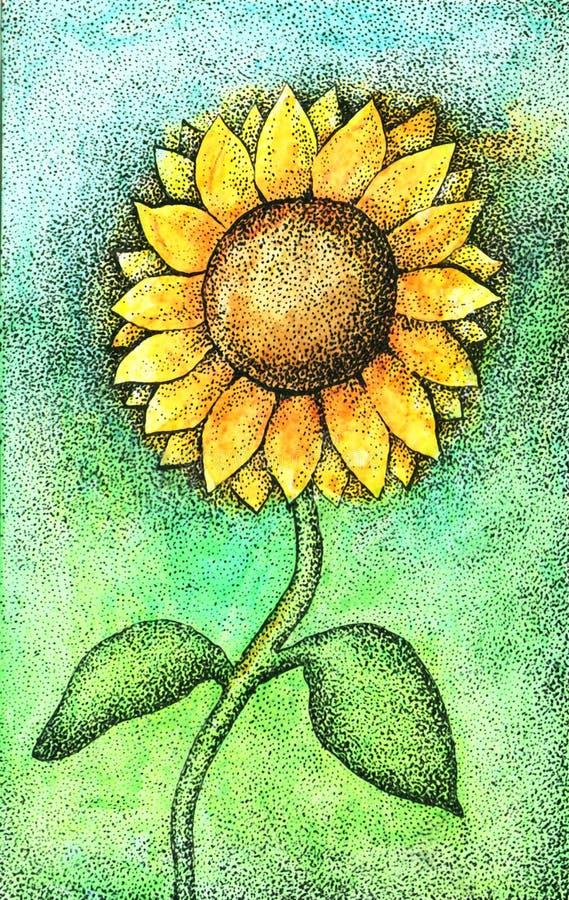Цветастая иллюстрация солнцецвета акварели и чернил иллюстрация штока