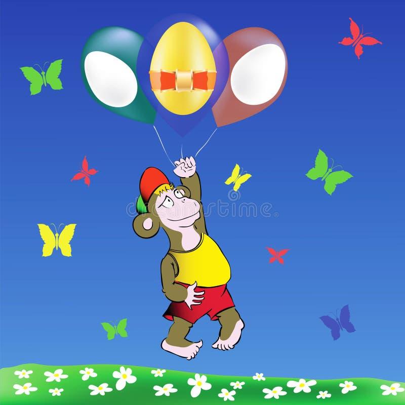 Воздушные шары обезьяны и пасхальных яя иллюстрация штока