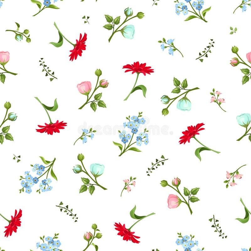 цветастая картина цветков безшовная также вектор иллюстрации притяжки corel бесплатная иллюстрация