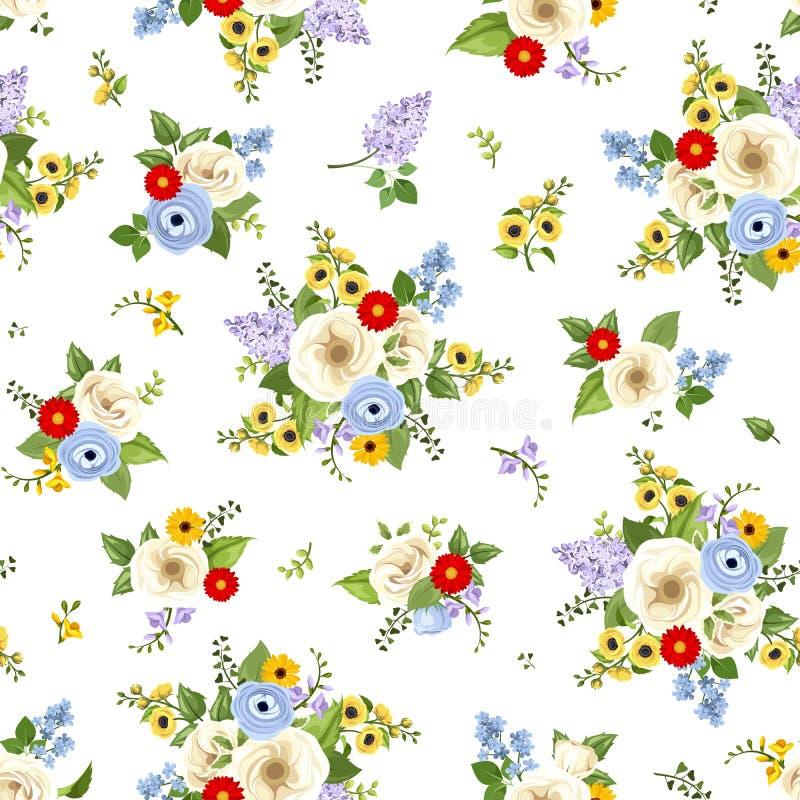цветастая картина цветков безшовная также вектор иллюстрации притяжки corel иллюстрация штока