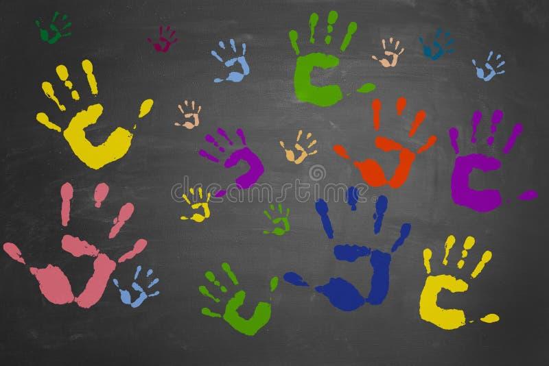 цветастая рука много печатей стоковые изображения
