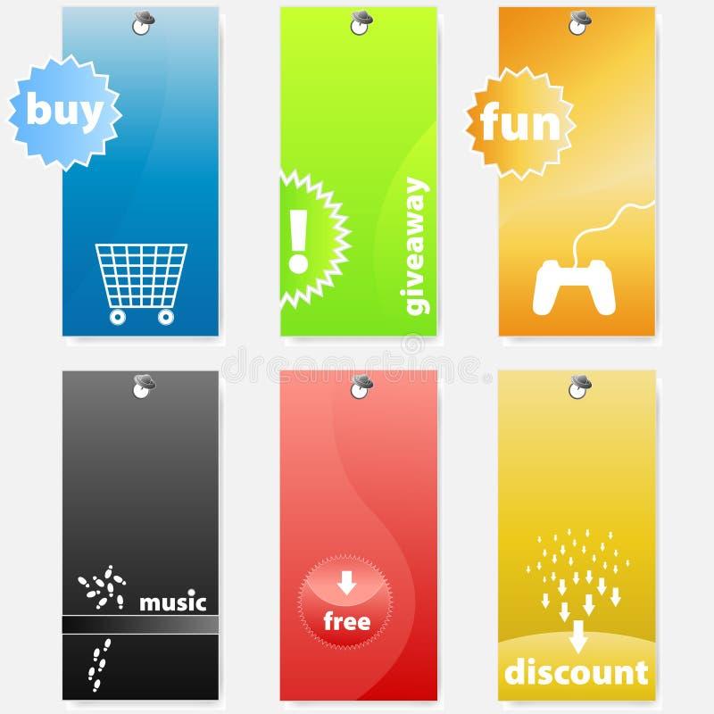 цветастая самомоднейшая покупка комплекта маркирует опирающийся на определённую тему бесплатная иллюстрация