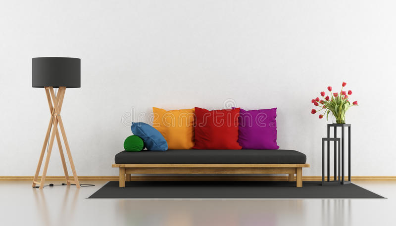 Цветастая самомоднейшая живущая комната иллюстрация штока