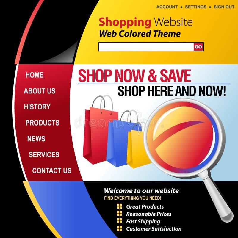 цветастая сеть шаблона покупкы интернета иллюстрация вектора