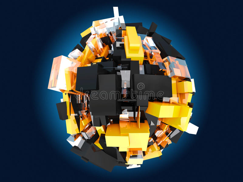 цветастая сфера Желтые и черные оранжевые кубы на голубой предпосылке, иллюстрации 3d иллюстрация штока