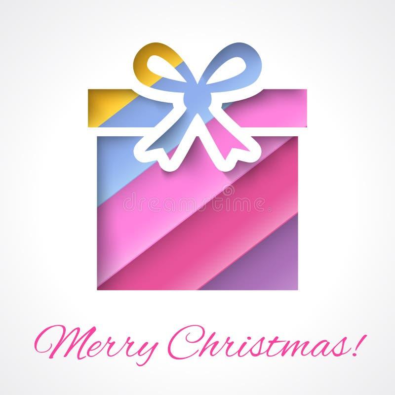 Цветастая с Рождеством Христовым поздравительная открытка с подарком иллюстрация вектора
