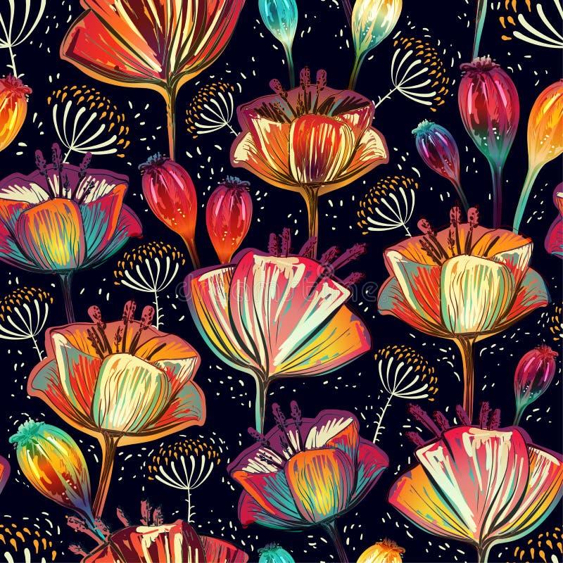 цветастая флористическая картина безшовная Орнамент заводов декоративные цветки Конструируйте для тканей, карточек, сети, decoupa иллюстрация вектора