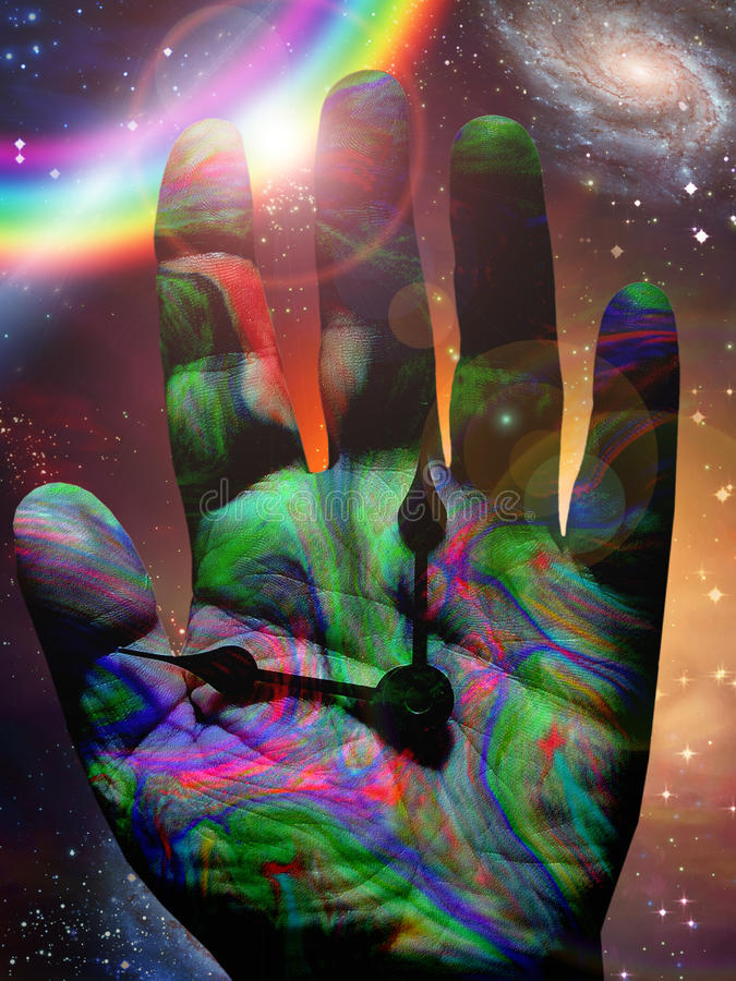 цветастое время руки иллюстрация штока
