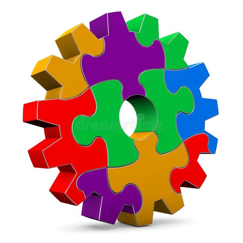 Цветастое колесо шестерни головоломки бесплатная иллюстрация