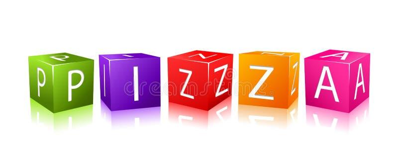 цветастое составленное слово пиццы кубиков бесплатная иллюстрация
