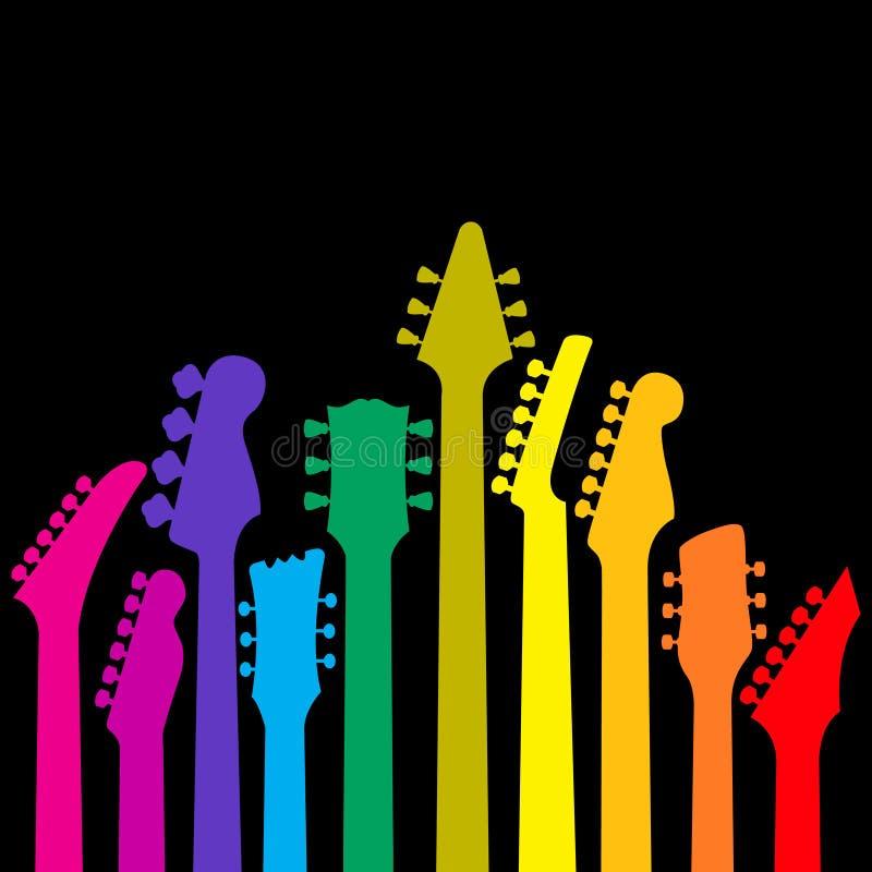 цветастые гитары иллюстрация вектора