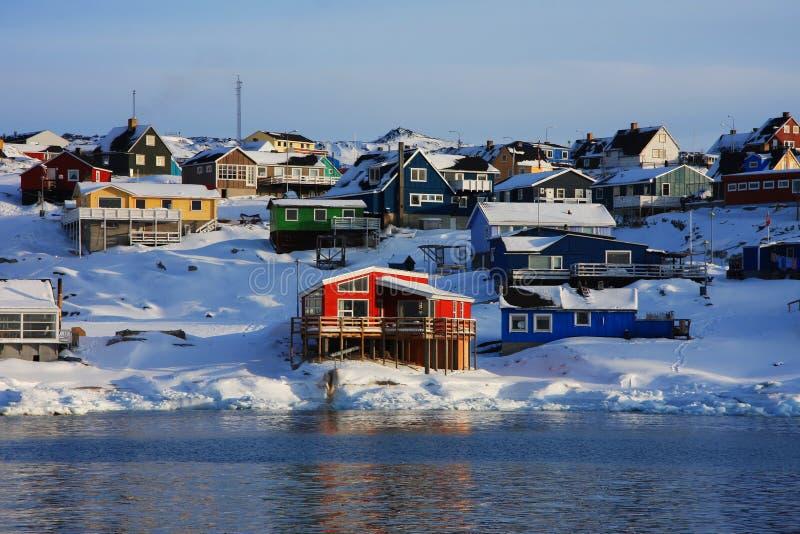 цветастые дома Гренландии стоковое изображение rf