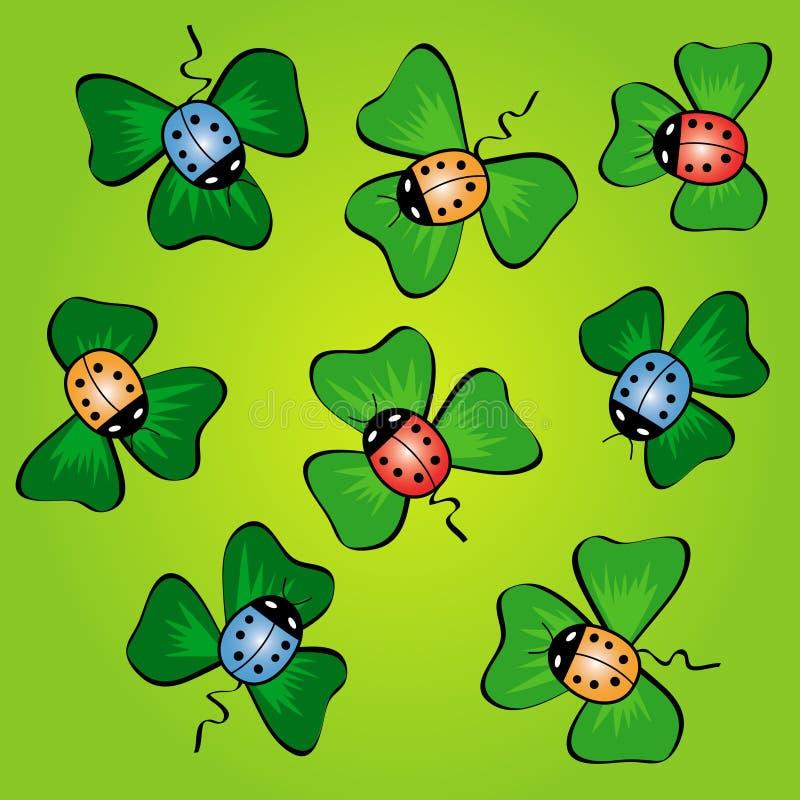 цветастые зеленые установленные листья ladybugs бесплатная иллюстрация