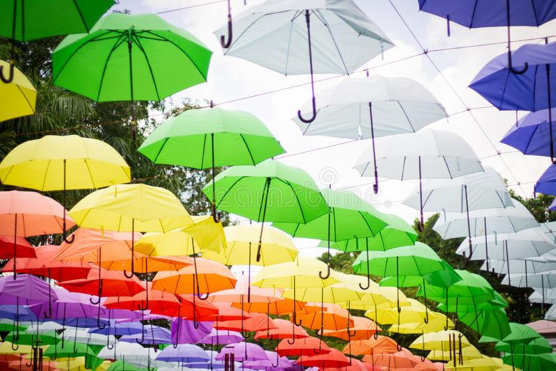цветастые зонтики стоковые изображения