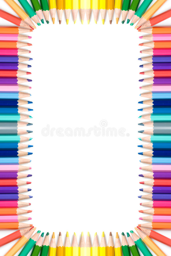 цветастые карандаши рамки стоковое фото rf