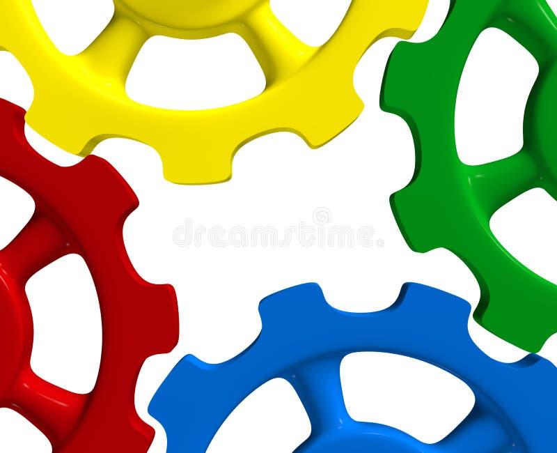 Цветастые колеса шестерни иллюстрация штока