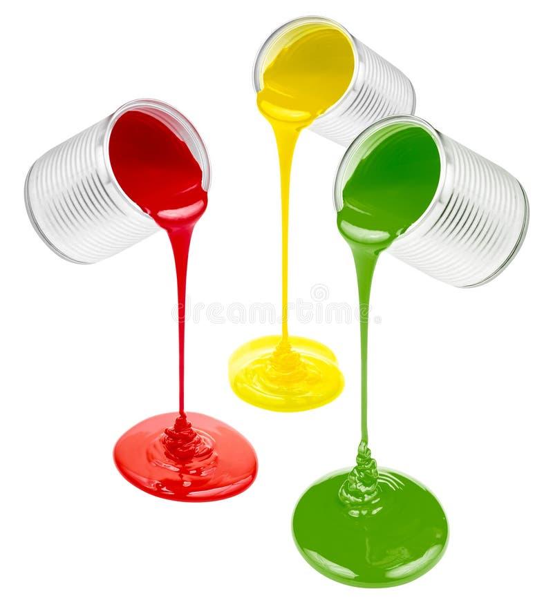 Цветастые краски зеленеют, желтеют, изолированный красный цвет стоковая фотография