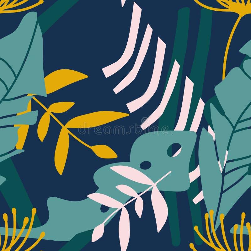 цветастые листья делают по образцу безшовное иллюстрация вектора