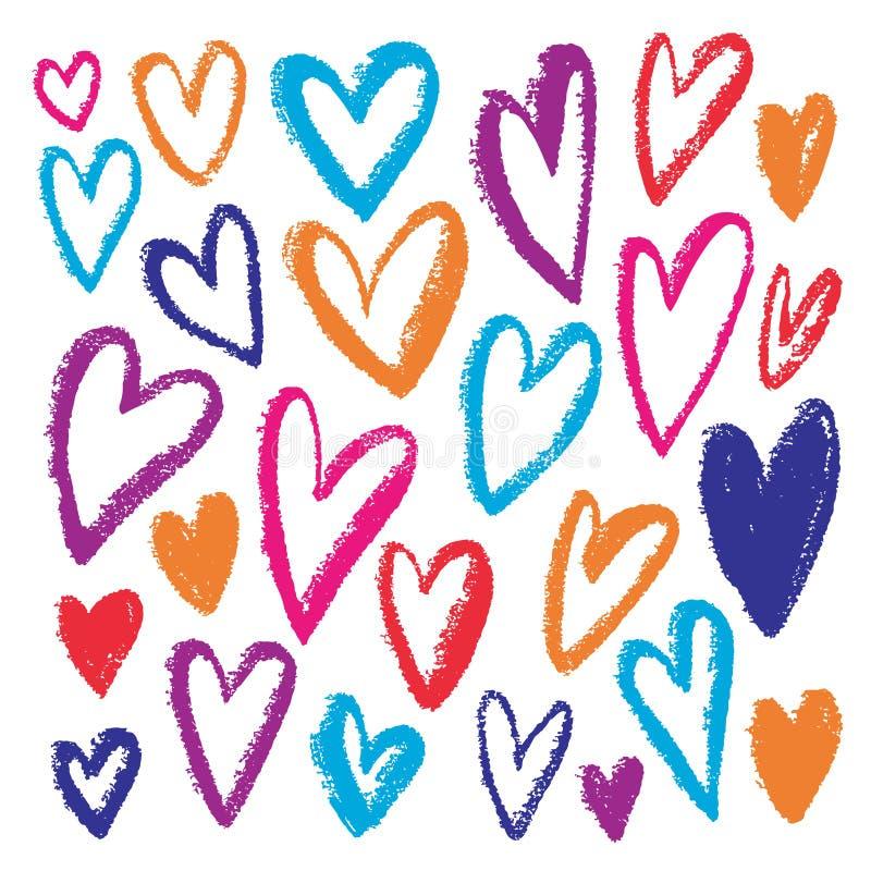 цветастые нарисованные сердца руки Grunge вектора покрыл краской иллюстрацию Красочные печати детей День валентинок, день рождени бесплатная иллюстрация