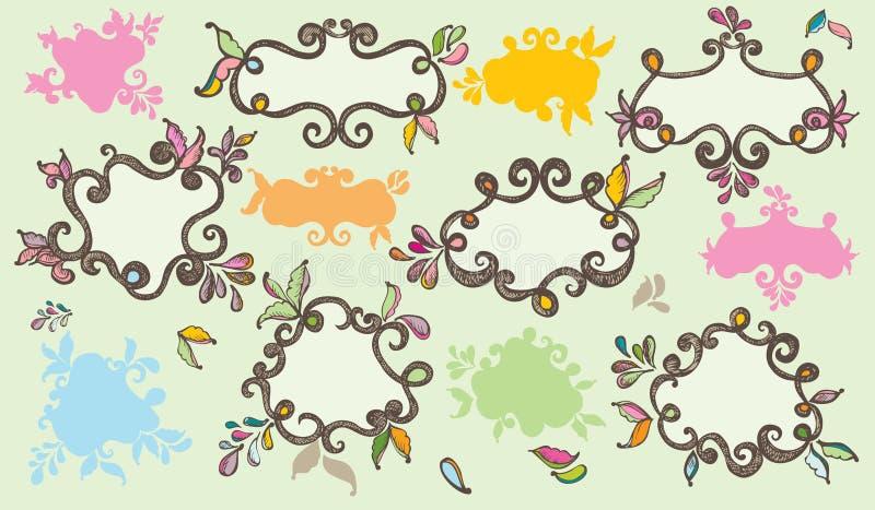 цветастые нарисованные ярлыки руки стоковые изображения