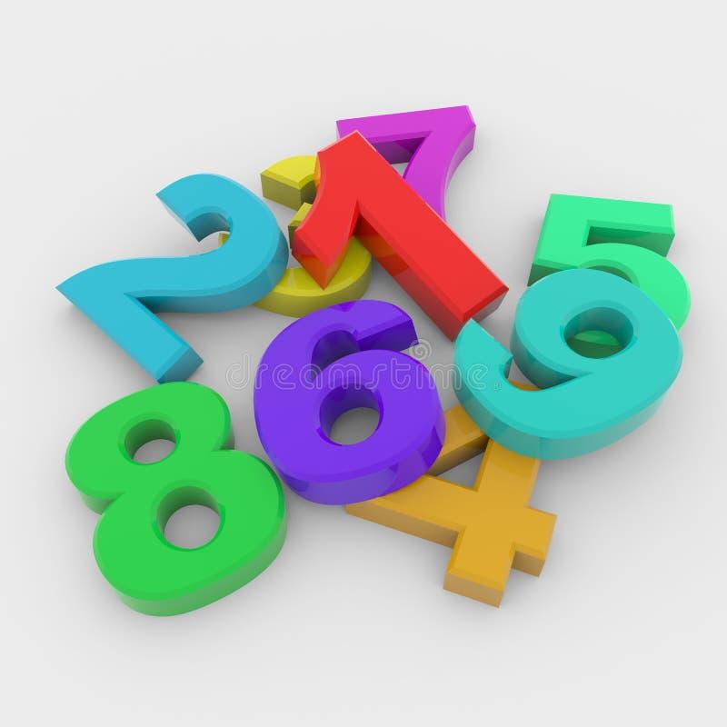 цветастые номера 3d иллюстрация вектора