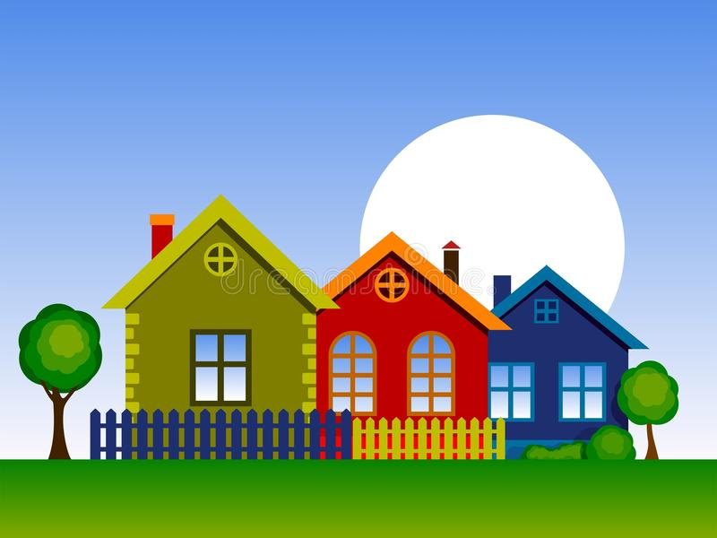 цветастые дома иллюстрация штока
