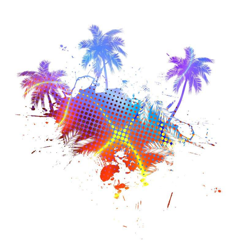 цветастые пальмы grunge бесплатная иллюстрация