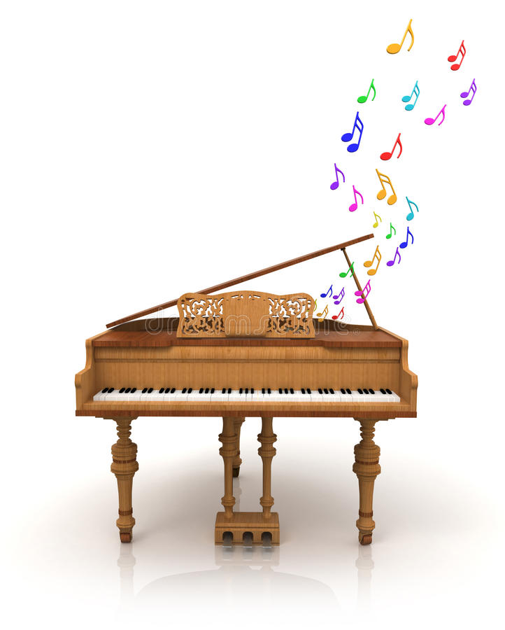 цветастые примечания покрасили рояль бесплатная иллюстрация