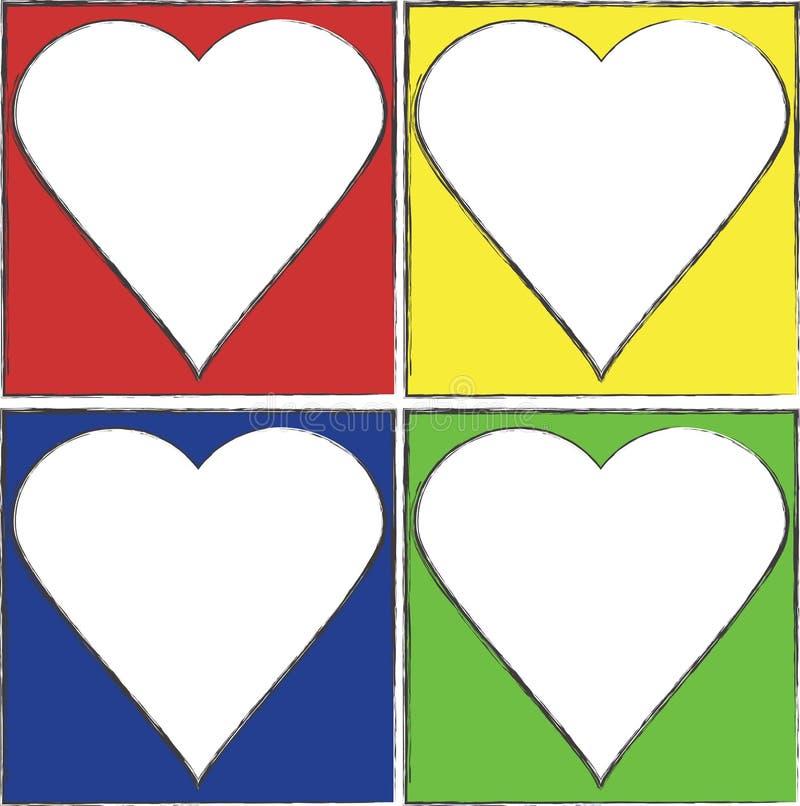 Цветастые рамки сердца иллюстрация штока