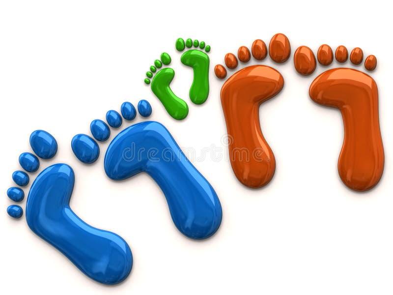 Цветастые следы ноги семьи иллюстрация штока