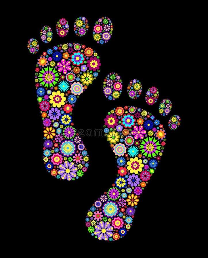 цветастые следы ноги бесплатная иллюстрация