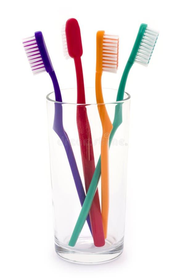 цветастые стеклянные зубные щетки стоковые изображения