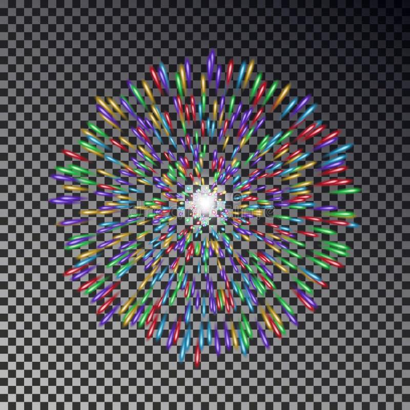 Цветастые феиэрверки на небе Изолированный вектор фейерверка бесплатная иллюстрация