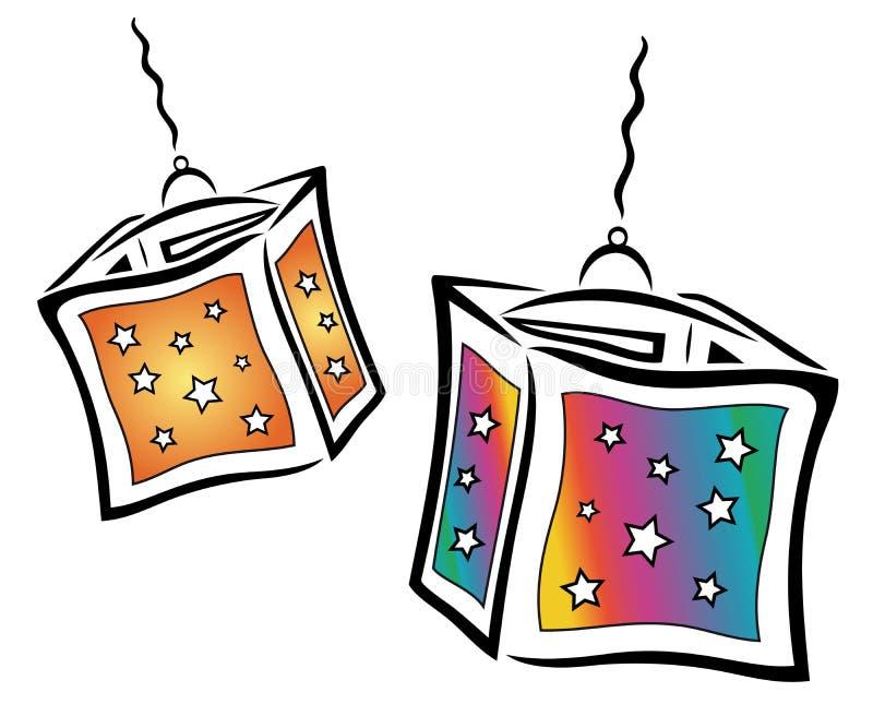Цветастые фонарики иллюстрация штока
