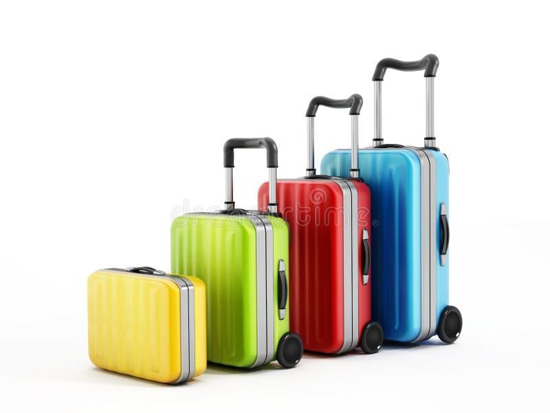 Цветастые чемоданы иллюстрация вектора