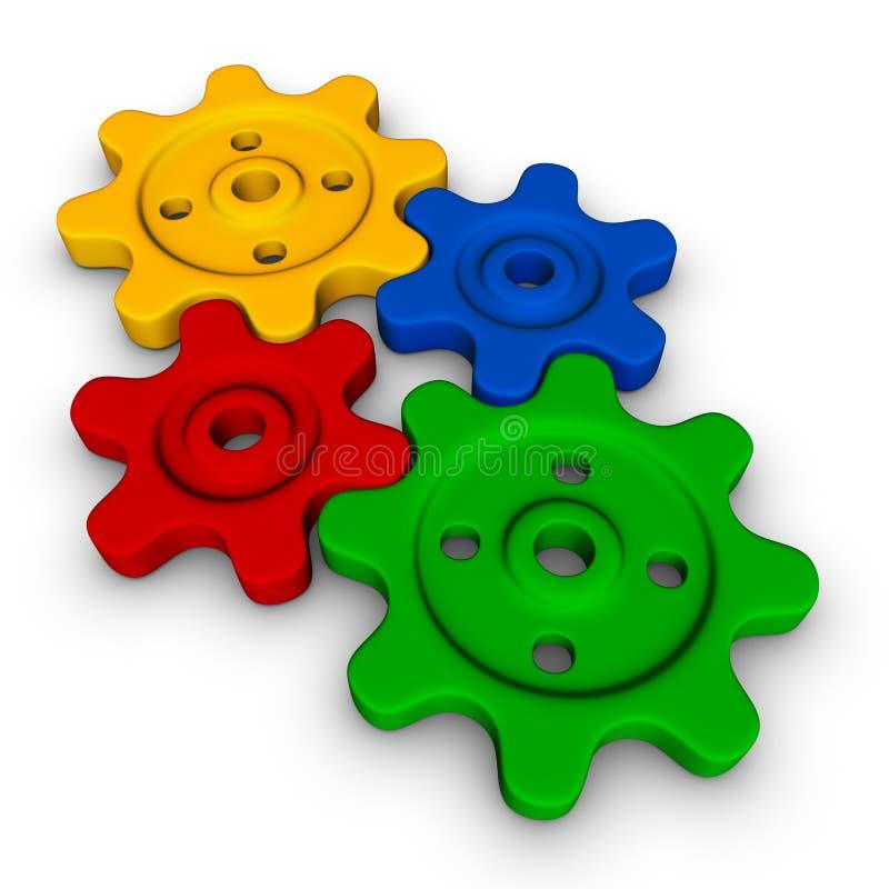 цветастые шестерни иллюстрация вектора
