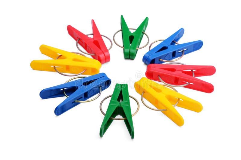 Цветастые clothespins стоковая фотография rf