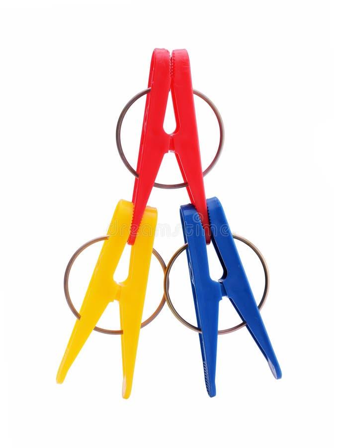Цветастые clothespins стоковые фотографии rf
