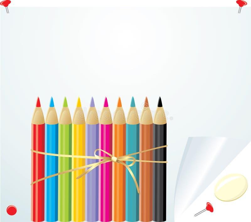 цветастые convoluted бумажные карандаши установили иллюстрация штока