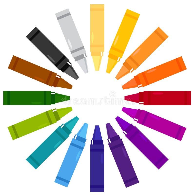 Цветастые crayons в круге бесплатная иллюстрация