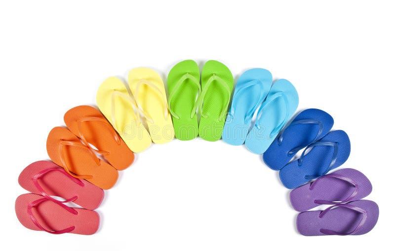 цветастые flops flip изолировали белизну стоковое фото