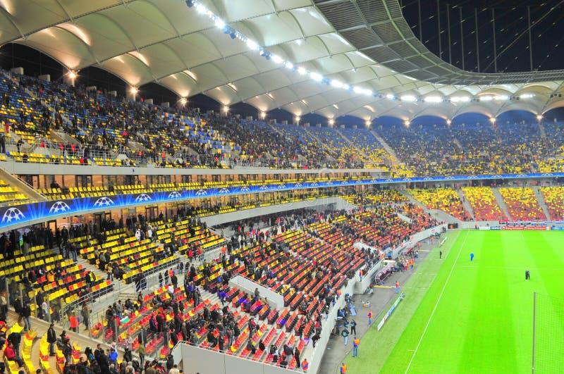 Цветастые tribunes на национальном стадионе арены стоковые изображения rf