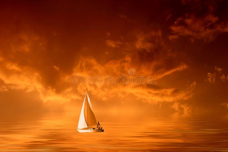 цветастый бурный заход солнца иллюстрация вектора