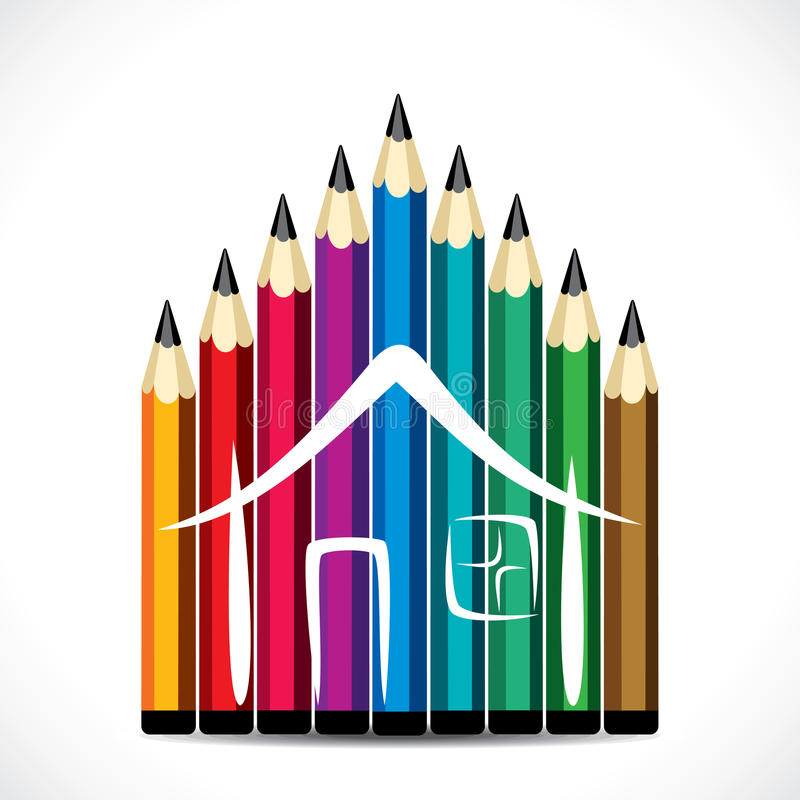 Цветастая конструкция дома карандаша иллюстрация штока
