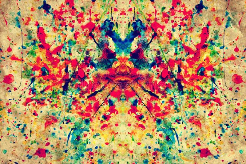 Цветастый выплеск акварели на винтажной бумаге холстины grunge стоковые фотографии rf